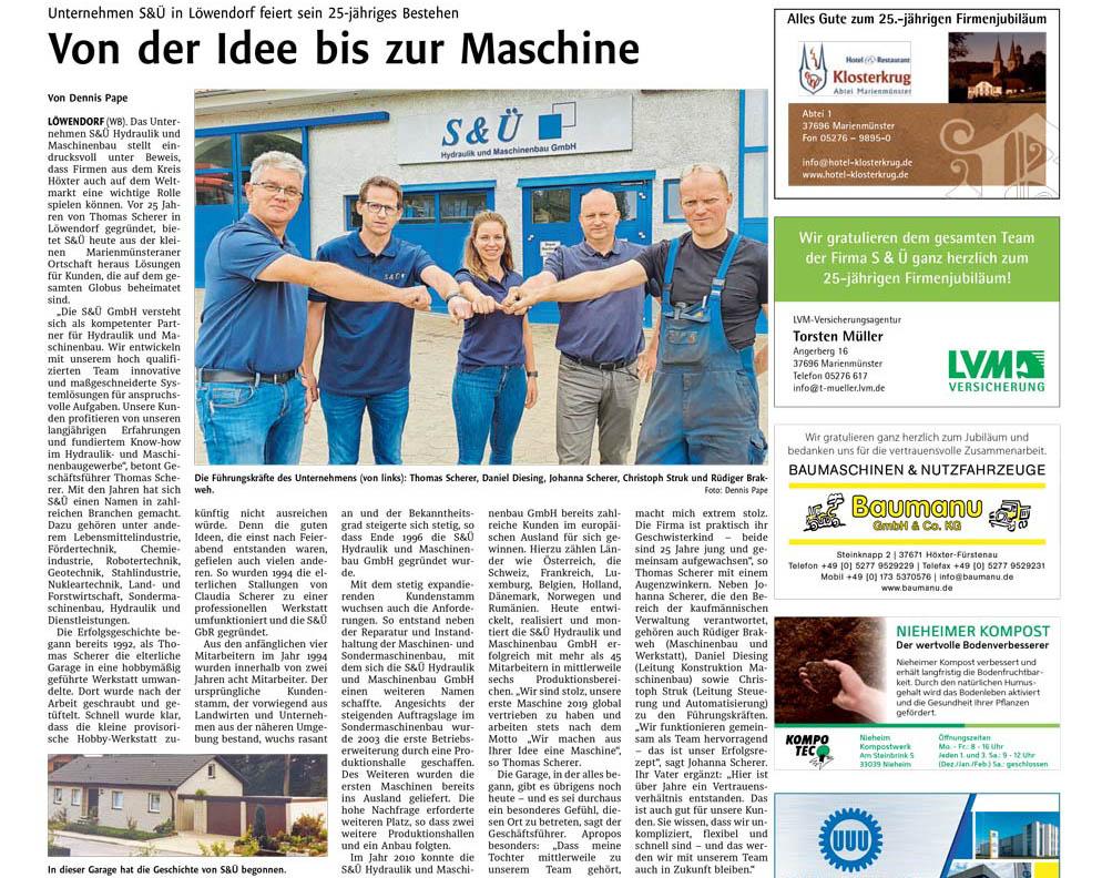 S&Ü feiert 25-jähriges Bestehen - Westfalen Blatt Artikel